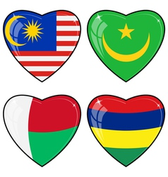 Set of images of hearts with the flags of Malaysia vector image vector image