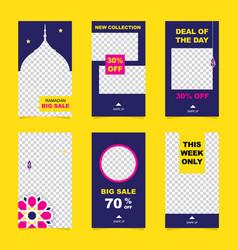 Set of instagram stories ramadan sale banner vector