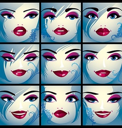 Set of portraits of sexy women in different vector image