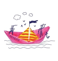 Ship sea child doodles and paper object vector image