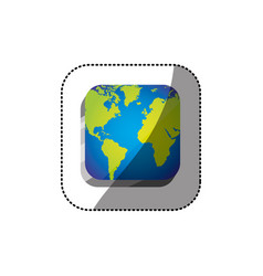 sticker color square 3d button with map continents vector image
