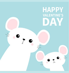 two white mouse set in corners cute cartoon vector image