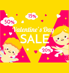 Valentines day sale banner with cute cartoon vector