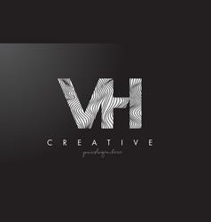 Vh v h letter logo with zebra lines texture vector