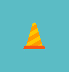 warning cone icon flat element vector image