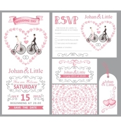 Wedding invitation setBridegroomretro bikePink vector image