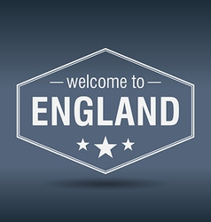 welcome to England hexagonal white vintage label vector image