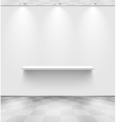 White room with shelf and checkered floor vector image