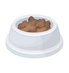 bowl with foodpet shop single icon in cartoon vector image