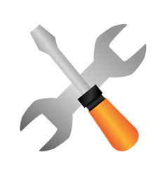 colorful silhouette with screwdriver and wrench vector image