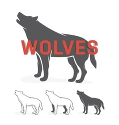 Grey wolf silhouette logo or label vector image vector image