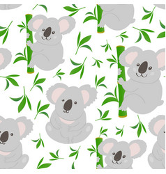 koala doodle seamless pattern background vector image vector image