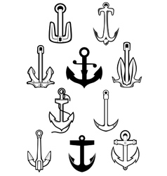 Marine themed set of ships anchors vector image vector image