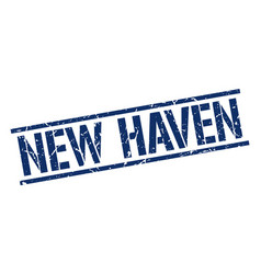 New haven blue square stamp vector