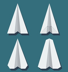 origami airplane set in flat style vector image