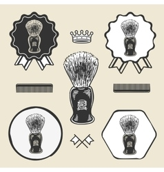 Barber shaving brush beard symbol emblem label vector image vector image