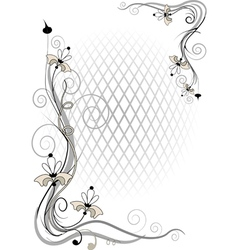 Corner twig and flower vector image