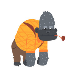 cute cartoon gorilla in an orange shirt and brown vector image