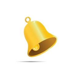 Golden bell on white bakground vector image vector image