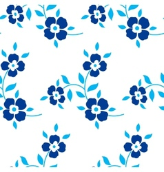 Seamless floral pattern Blue flowers leaves vector image vector image