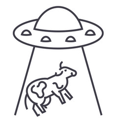 ufo invasion cow line icon sign vector image