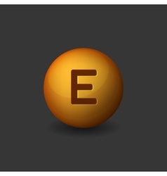 Vitamin E Orange Glossy Sphere Icon on Dark vector image vector image