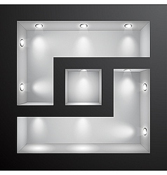 3d empty shelf for exhibit in the wall vector image