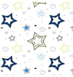 stars hearts blue green kids pattern vector image vector image
