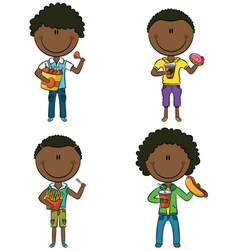 African-American boys with junk foods vector image