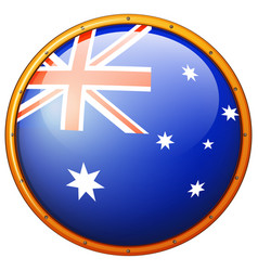australia flag on round badge vector image vector image