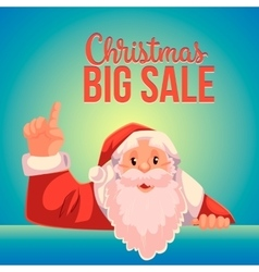 Christmas sale banner with cartoon santa claus vector