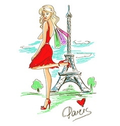 Fashion girl in Paris vector image vector image