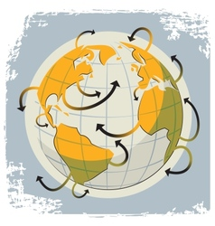 globe and arrows vector image