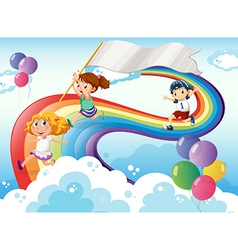 Kids playing above the rainbow with an empty vector image
