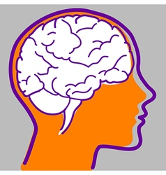 Man profile with visible brain vector image vector image