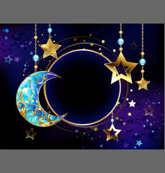 round banner with jewelry crescent moon vector image vector image