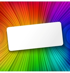 White paper banner on colorful striped background vector image vector image