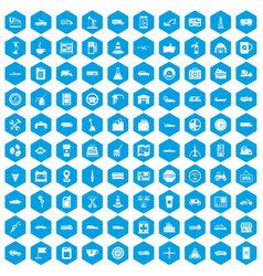 100 gas station icons set blue vector