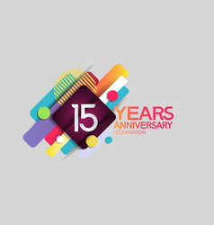 15 years anniversary colorful design with circle vector