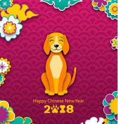 2018 chinese new year banner earthen dog paper vector image