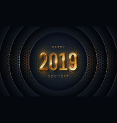 2019 happy new year with dark circle background vector image