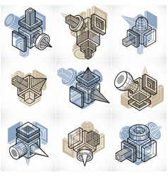 3d engineering collection of abstract shapes vector image