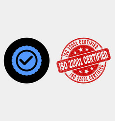 approve seal icon and distress iso 22001 vector image