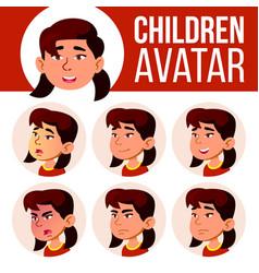 asian girl avatar set kid kindergarten vector image