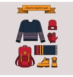 Autumn hipster look vector