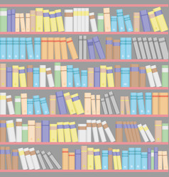 Background from bookshelves with books vector
