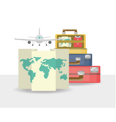Bags with map and airplane vector