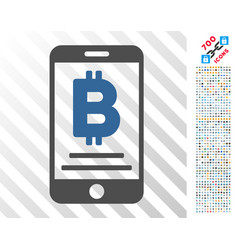 Baht mobile payment flat icon with bonus vector