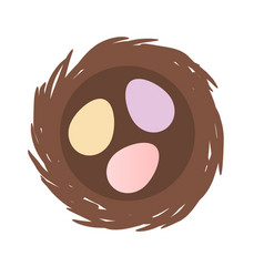 Birds nest with three eggs inside isolated vector