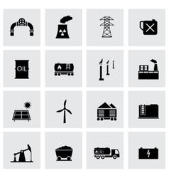 Black energetics icons set vector